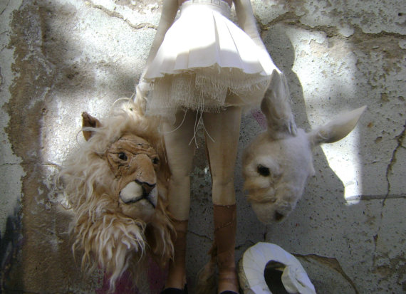 Lion and Rabbit Art Doll handcrafted by ValeriaDamon on Etsy.