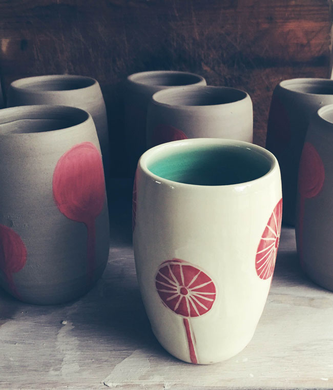 Handcrafted pottery mugs by Tara-Sinead at Pitch Pine Pottery. Read the interview with Tara-SInead at Different Drum. differentdrumblog.com