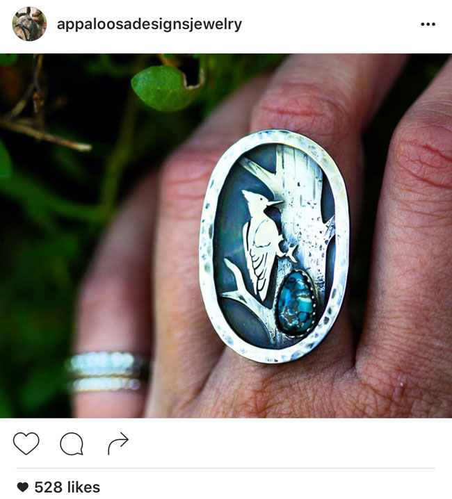 Woodpecker turquoise and silver ring and other sterling silver jewelry by Chelsea Born of Appaloosa Designs Jewelry