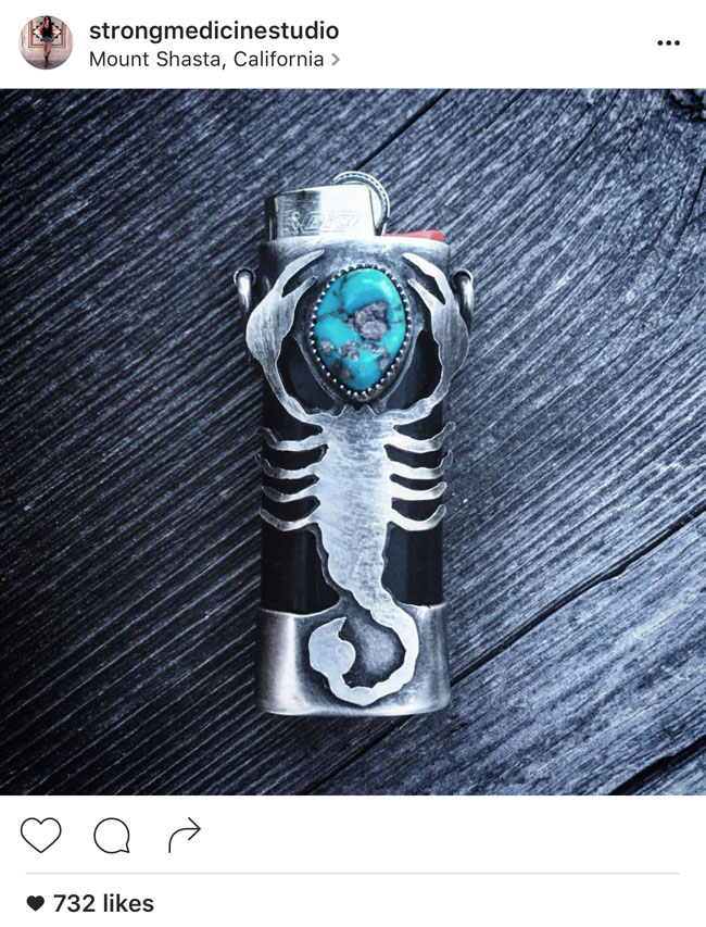 Firekeeper scorpion turquoise lighter cover by Jenna Knight of Strong Medicine Studio.
