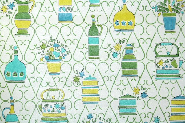 A groovy green, turquoise & yellow wallpaper pattern for a vintage kitchen by Hannah's Treasures. Read more about vintage wallpaper at differentdrumblog.com