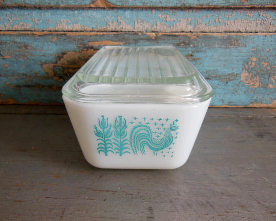 Turquoise Butterprint Vintage Pyrex Pattern // By TurquoiseRollerSet on Etsy