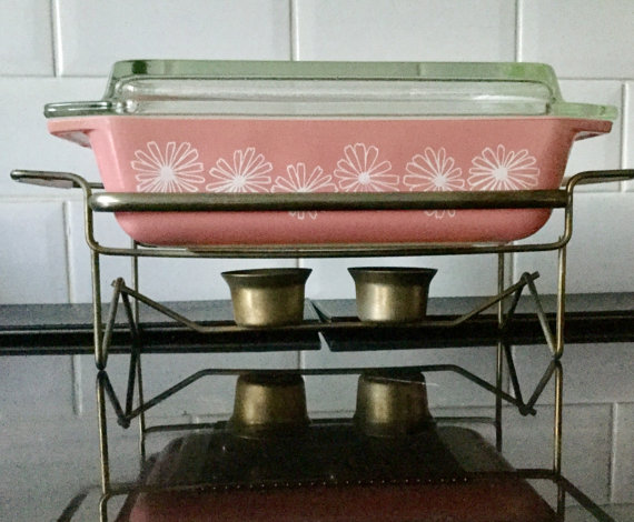 Vintage Pyrex Casserole in Pink Daisy Pattern by Replacements4U on Etsy