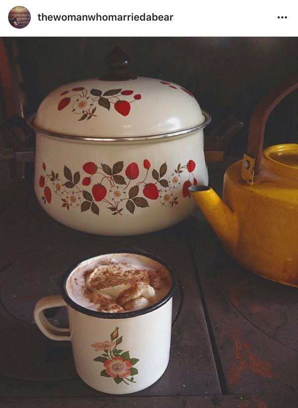 Enamelware from @thewomanwhomarriedabear on Instagram.
