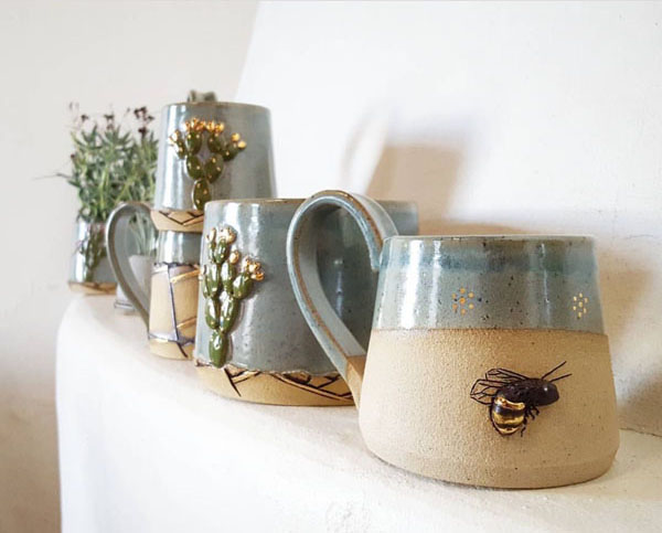 Golden Bee Mug by seedlingclayworks on Instagram