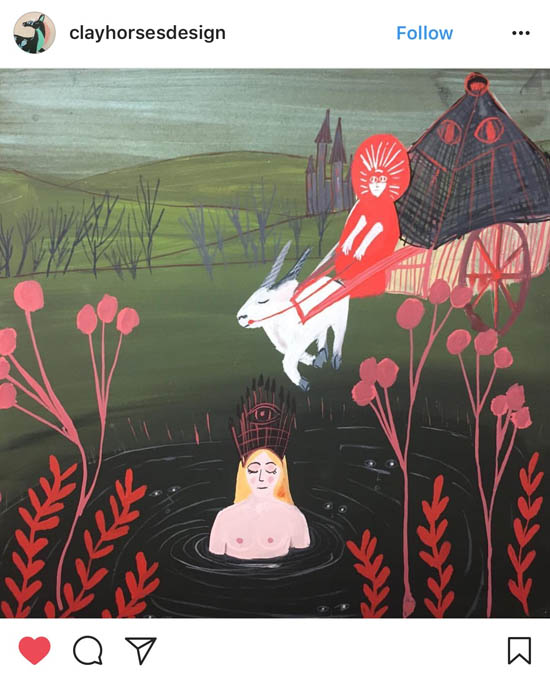 "Illustration of ""Hertha Lake,"" a folktale from Northern Germany by artist @clayhorsesdesign"