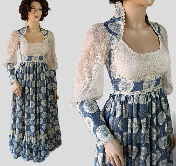 Romantic 1970s Gunne Sax Gown with a lace bodice by PetticoatsPlus on Etsy.