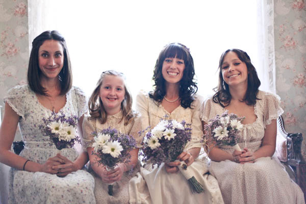 My bridesmaids and me all dressed up in our vintage Gunne Sax dresses.