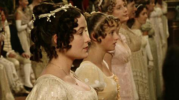 Empire waistlines on the ball gowns in the BBC's Pride & Prejudice.