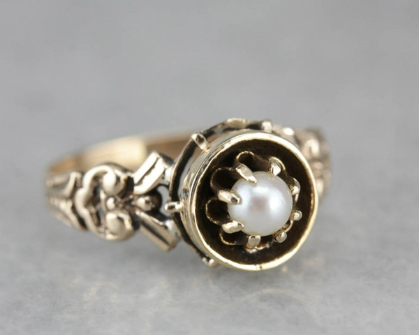 Victorian Pearl Solitaire Ring offered by MSJewelers on Etsy