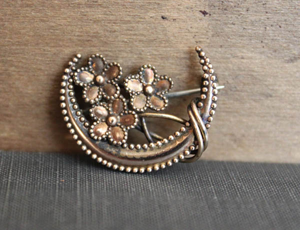 Crescent Moon & Forget-Me-Not Honeymoon Brooch offered by TheHiddenChamber on Etsy.