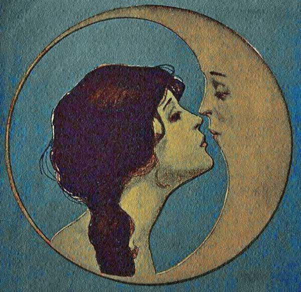 Victorian Lady Kisses the Moon.