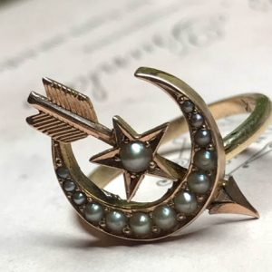 Victorian Crescent Moon and Star Conversion Ring offered by EstateJewelryMama on Etsy.