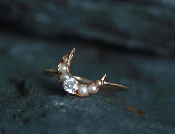 Diamond and Pearl Crescent Moon Ring offered by EthicallyEnchanted on Etsy.