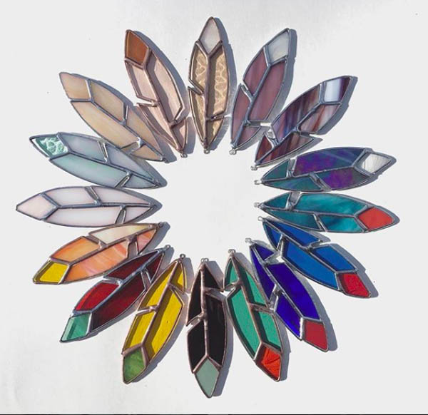 Stained Glass Feathers by Stacie of Forest City Stained Glass.