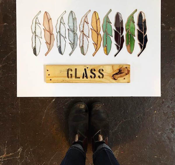 Glass Feathers by Forest City Stained Glass.