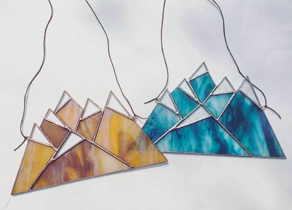 Mountain Range Suncatchers by Stacie of Forest City Stained Glass.
