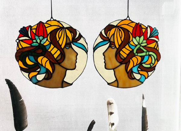 Art Nouveau Stained Glass Suncatchers by Stacie's Grandpa.