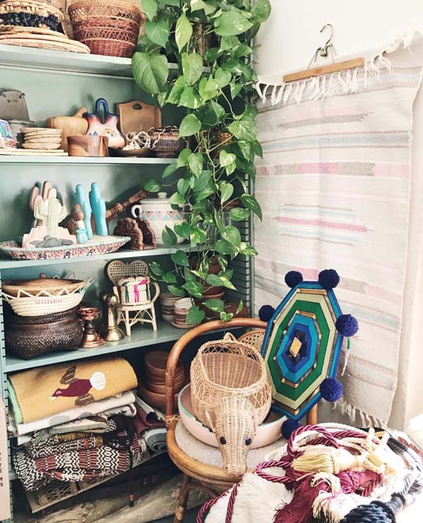 Vintage shelves full of Southwest decor goods by Shop Taprut on Etsy.