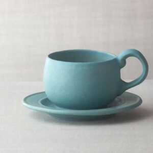 Large Cup and Saucer Set from Bennington Potters.