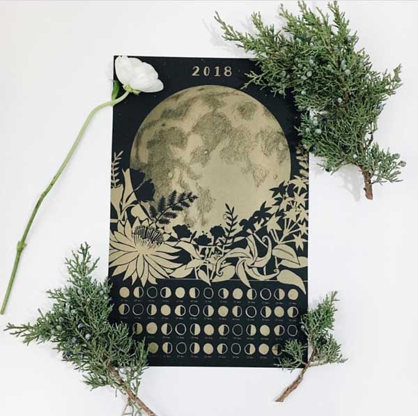 This Lunar Moon Phase Calendar is by sisters Sonya & Nina Montenegro of TheFarWoods on Etsy.