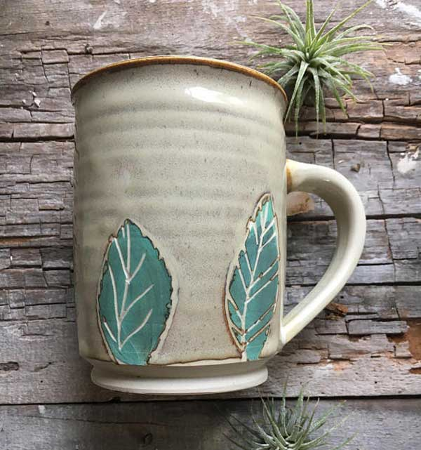 Handcrafted pottery mug by Pitch Pine Pottery with a lead-free glaze.