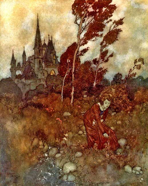 """She was always picking flowers and herbs,"" illustration by Edmund Dulac for Hans Christian Andersen's 'The Wind's Tale.'"