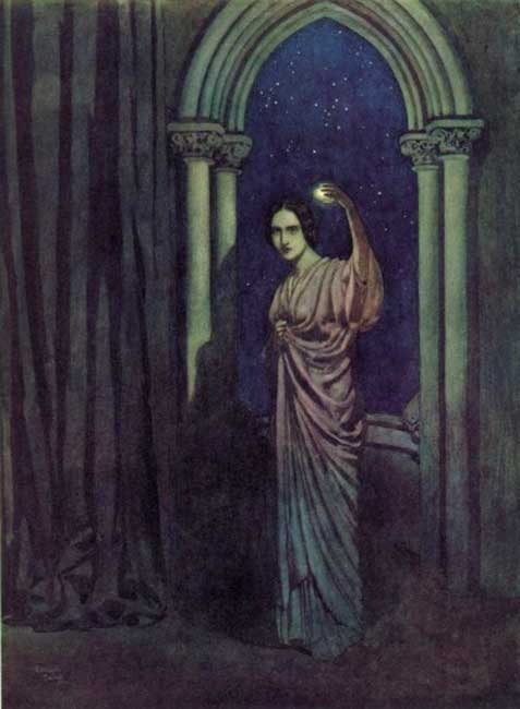 """How statue-like I see thee stand / The agate lamp within thy hand!"" Illustration by Edmund Dulac for Edgar Allan Poe's 'To Helen.'"