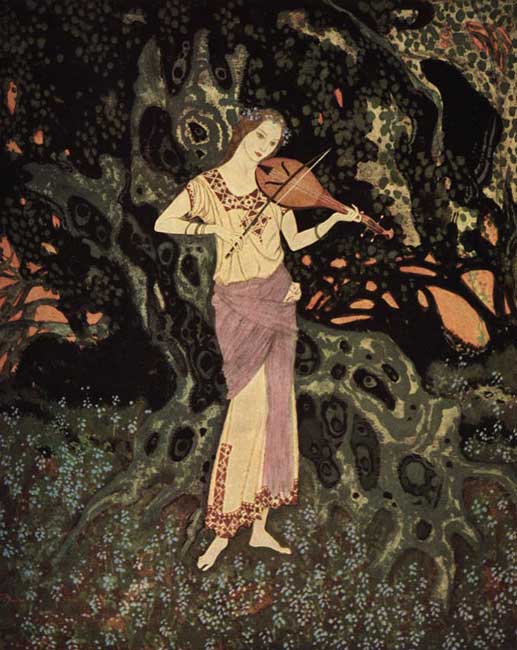 """And there, leaning against a moss-grown crumbling tree, was a spirit-like being out of another world!"" illustration by Edmund Dulac for Marie Alexandra Victoria's 'The Dreamer of Dreams.'"