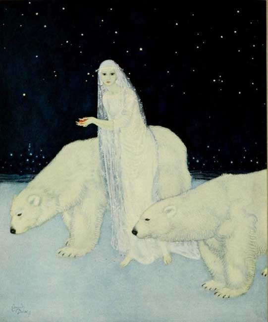 """Everything about her was white, glistening and shining,"" illustration by Edmund Dulac for Marie Alexandra Victoria's 'The Dreamer of Dreams.'"