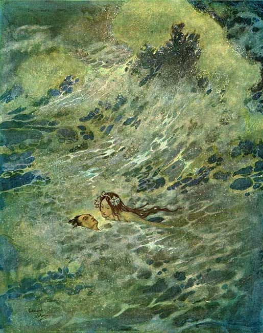 """He must have died if the little mermaid had not come to his rescue,"" illustration by Edmund Dulac for 'The Little Mermaid.'"