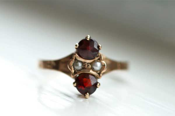 Garnet and Seed Pearl Ring offered by ToinetteJewelry on Etsy.