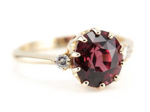 The Layla Rhodolite Garnet and Diamond Ring offered by MSJewelers on Etsy.