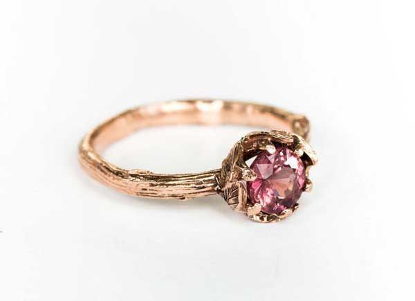 Garnet Leaf Engagement Ring by Oore on Etsy.