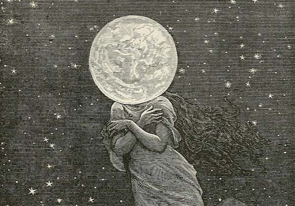 Moon luna lady by Emile Bayard