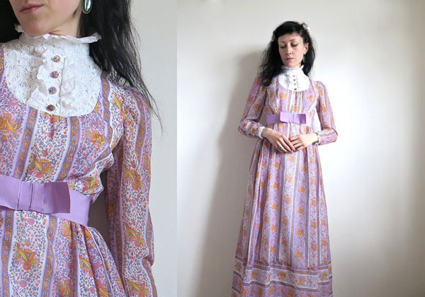 Vintage purple prairie maxi dress in urban prairie girl style