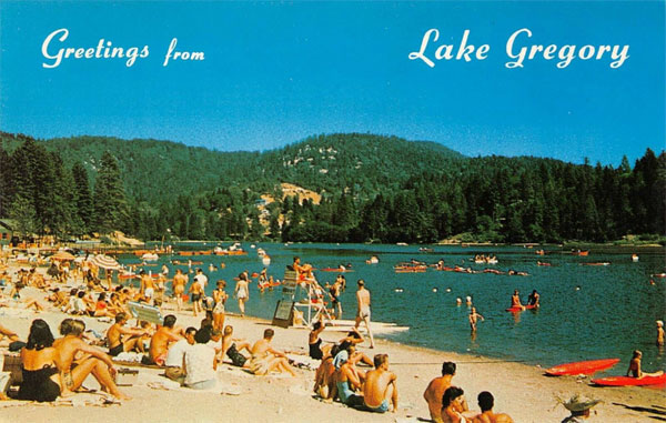 Greetings from Lake Gregory Vintage Crestline Postcard