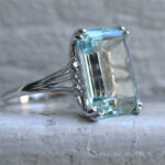 Vintage aquamarine and white gold ring by GoldAdore