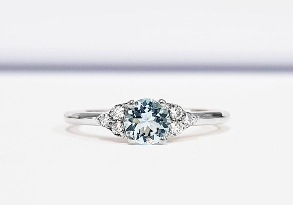 A lovely aquamarine and diamond engagement ring by aardvarkjeweller