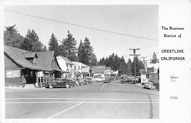Vintage Crestline, CA Business District Postcard
